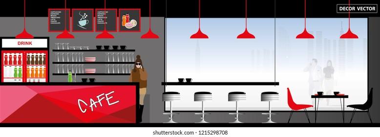 vector modern loft style coffee shop interior design