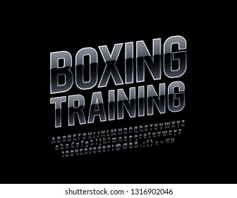 Vector modern logo Boxing Training with Black and Silver Font. Reflective Alphabet Letters