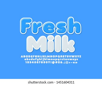 Vector modern logo Fresh Milk with white Alphabet Letters, Numbers and Symbols. Trendy creative Font