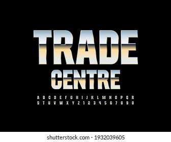 Vector modern logo Trade Centre. Glossy Siver Font. Metallic Alphabet Letters and Numbers set