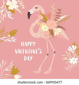 Vector modern love card, posters for Valentine's Day or date, wedding. Hand lettering, flamingo, flowers.