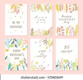 Vector modern love cards, posters for Valentines Day or date, wedding. Hand lettering, flower and plants.