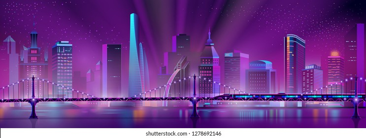 Vector modern megapolis background with bullet train on the bridge over the river. Speed railroad vehicle and purple glowing buildings. Urban skyscrapers in neon colors, town exterior.