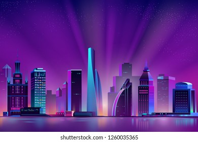 Vector modern megapolis at dawn. Bright glowing of rising sun on buildings. Urban skyscrapers in neon colors, town exterior, architecture background. Residential construction for cityscape concept.
