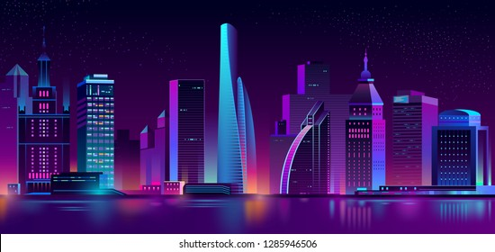 Vector modern megapolis at night. Bright glowing buildings in cartoon style. Urban skyscrapers in neon colors, town exterior, architecture background. Residential construction for cityscape concept.