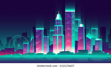 Vector modern megapolis at night. Glowing buildings and Ferris wheel in cartoon style, neon colors. Urban skyscrapers for town exterior, architecture. Residential construction for cityscape concept