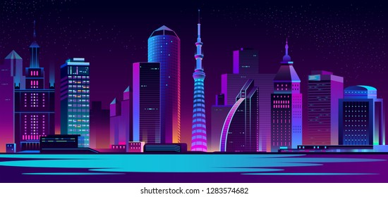 Vector modern megapolis at night. Purple glowing buildings in cartoon style. Urban skyscrapers in neon colors, town exterior, architecture background. Residential construction for cityscape concept.