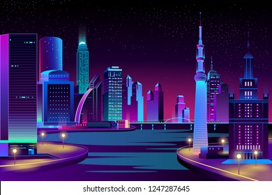 Vector modern megapolis on river at night. Bright glowing buildings, boardwalk and bridge in cartoon style. Urban skyscrapers in neon colors, town exterior, architecture background.