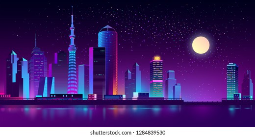 Vector modern megapolis on river at night. Purple glowing buildings on quay. Urban skyscrapers in neon colors, town exterior, architecture background. Residential construction for cityscape concept.