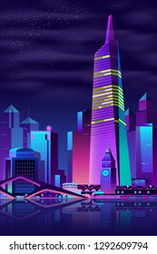 Vector modern megapolis on a river at night. Bright glowing tower and bridge reflected on the water surface in cartoon style. Urban skyscrapers in neon colors, town exterior, architecture background.