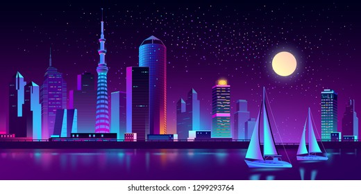 Vector modern megapolis on river at night. Bright yachts and bay, boats on the water, purple glowing buildings on the background. Urban skyscrapers in neon colors, town exterior. Cityscape concept.