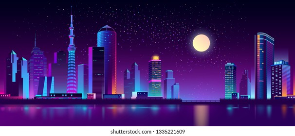 Vector modern megapolis on river at night. Purple glowing buildings on quay. Contemporary architecture - urban skyscrapers in neon colors, town exterior, architecture background. Cityscape concept.