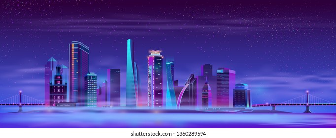 Vector modern megapolis on the river in fog, hinged bridges. Night architecture background with glowing buildings in cartoon style. Urban skyscrapers in neon colors, a town on the island.