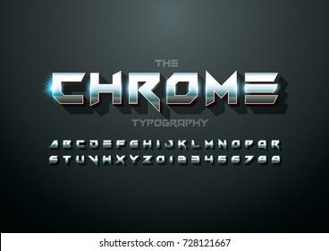 Vector of modern metallic bold font and alphabet