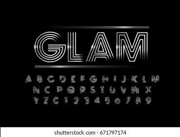 Vector of modern metallic font and alphabet