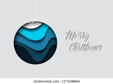 Vector modern minimalistic card with simple christmas bauble decoration and paper cut effect - blue version