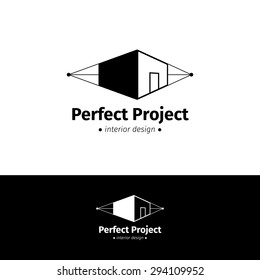 Vector modern minimalistic house design logo. Black and white interior logotype