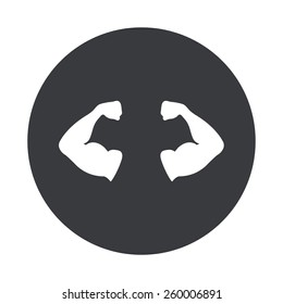 Vector modern muscle gray circle icon on white background
