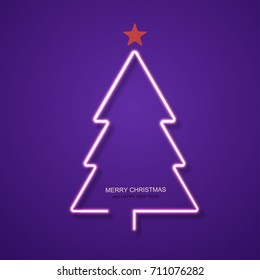 vector modern neon Christmas tree background. Eps10
