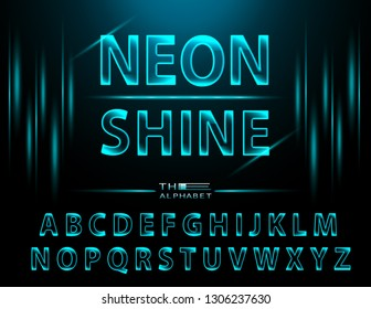 Vector of modern Neon font letters. Glow alphabet with fluorescent light. Glowing 3d letters. Vector of stylized colorful and creative Neon font.