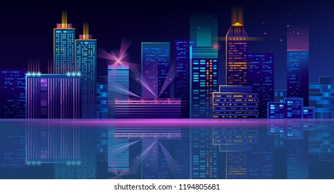 Vector modern night megapolis. Bright glowing buildings in cartoon style. Urban skyscrapers in neon blue colors, town exterior, architecture background. Residential construction for cityscape concept