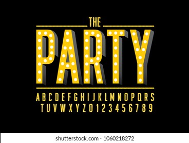 Vector of modern party font and alphabet