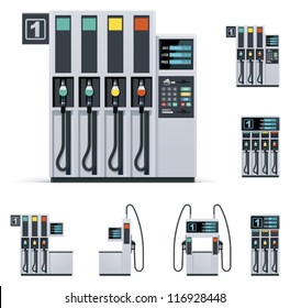 Vector modern petrol or gas filling station pumps set. Includes four pumps with different designs