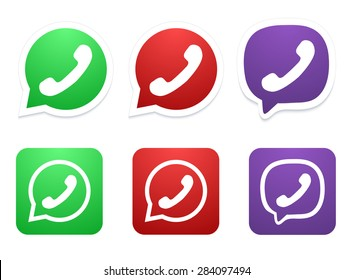 Vector modern phone icon set on white background