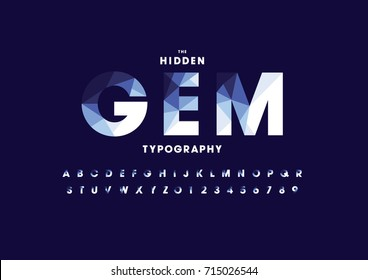 Vector of modern polygonal font and alphabet