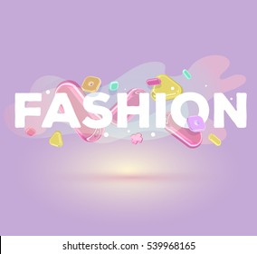 Vector modern positive inscription fashion with bright crystal 3d elements on purple background with shadow. Creative art style concept design for shopping, sale, card, web, site, banner, poster