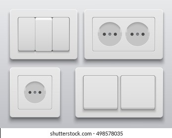 Vector modern power socket and light switch icon on background