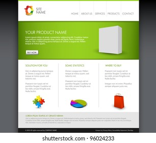 Vector Modern product homepage  template - Green version