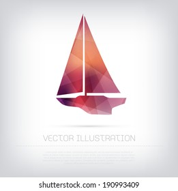 Vector modern red classic sailboat icon with colorful trendy and modern polygonal texture