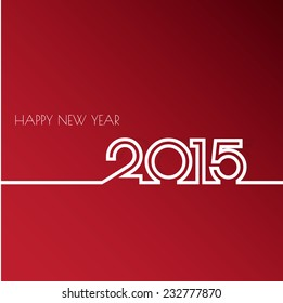 Vector Modern red simple Happy new year 2015 card with a long shadow effect .Vector/illustration.