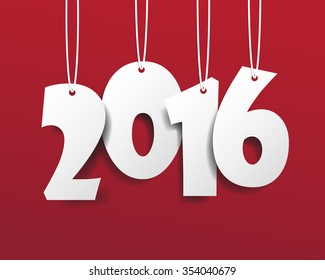 Vector Modern red simple Happy new year 2016 card with a long shadow effect .Vector/illustration.