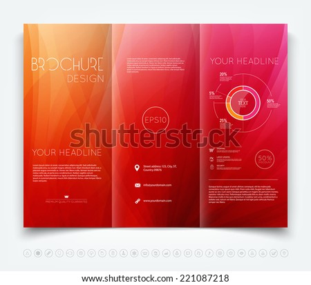 vector modern red trifold brochure design stock vector royalty free