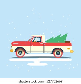 Vector modern retro red pick up. Tourism design.Travel by flat car. Retro travel truck on blue background with christmas tree