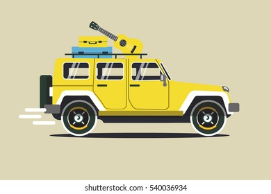 Vector modern retro yellow  jeep background. Tourism design.Travel by car. Retro travel car landscape