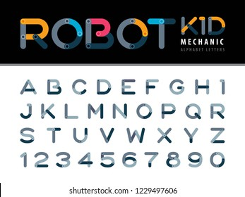 Vector of Modern Robot and Mechanic Alphabet Letters and numbers, Minimal Letters set for Technical Futuristic, Cartoon, automaton