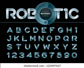 Vector of Modern Robot and Mechanic Alphabet Letters and numbers, Minimal Bronze Letters set for Technical Futuristic, Cartoon, automaton,