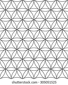 Vector modern sacred geometry seamless pattern ,flower of life, black and white textile design, abstract texture, monochrome graphic print