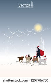 vector modern santa claus and his dogs on winter snow background