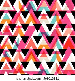 Vector modern seamless colorful geometry triangle pattern, color abstract geometric background, multicolored print, retro texture, hipster fashion design