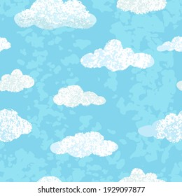 Vector modern seamless pattern with colorful hand draw llustrations of blue sky. Can be used for wallpaper, pattern fills, web page, surface textures, textile print, wrapping paper, presentation