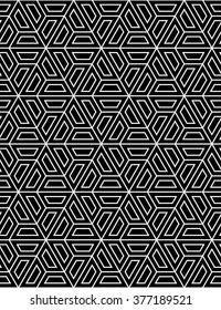 Vector modern seamless sacred geometry pattern hexagon, black and white abstract geometric background.