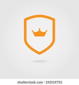 Vector modern shield icon with crown.