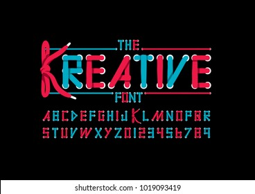 Vector of modern shoelace shaped font and alphabet