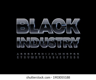 Vector modern sign Black Industry. 3D Reflective Font. Black and Metal Alphabet Letters and Numbers set