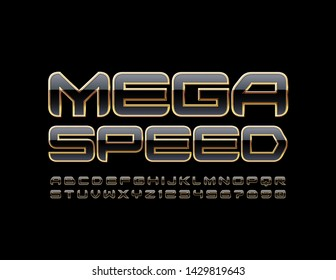 Vector modern sign Mega Speed with techno style Letters and Numbers. Black and Golden Uppercase Alphabet. Futuristic stylish Font