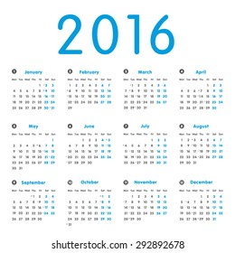 Vector modern and simple calendar 2016 with moon phases, well arranged, in grey, blue. Eps 10 vector file.